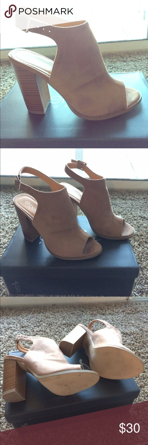 Women's Taupe Suede Peep Toe Shoes Size 6.5, worn once, great condition Betani Shoes Ankle Boots & Booties
