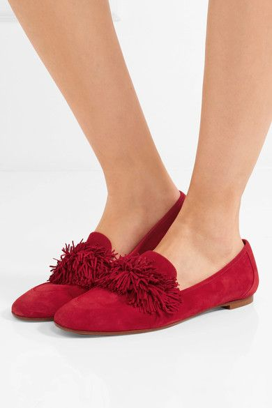 Aquazzura - Wild Fringed Suede Loafers - Red - IT