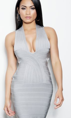 'VANESSA' DEEP V BACKLESS BANDAGE DRESS
