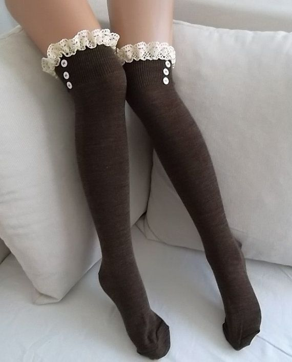 Brown Socks  Boot socks  leg warmers  lace by CarnavalBoutique,