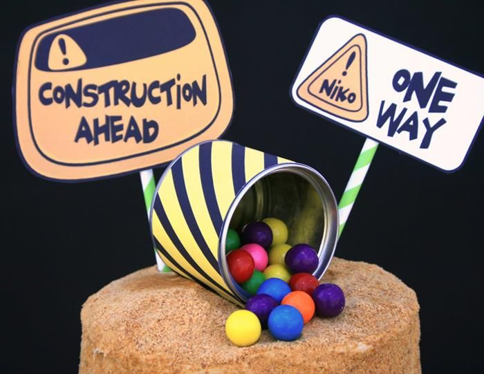 Candy Construction Birthday Party---Cute ideas for setting up the food for a construction party.