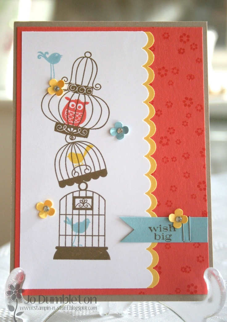Stacked bird cages from Aviary Stamp set make for a fun & bright birthday card.