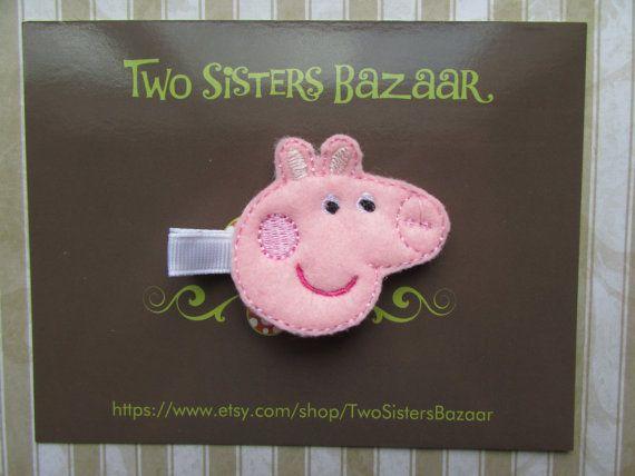 Peppa Pig Hair Clip Pig Felt Hair Clip Girls by TwoSistersBazaar