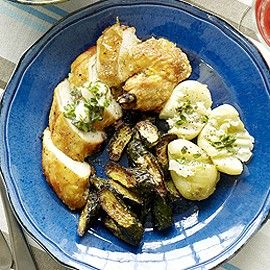 Chicken supremes with lemon-thyme butter and baked courgettes recipe - Woman And Home