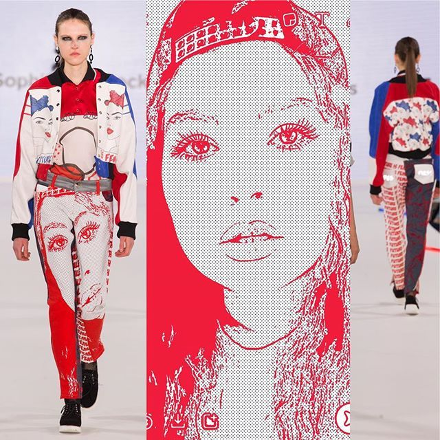 Sophie Maddocks - Manchester School of Art - Graduate Collection 2017. Feminism. Comic. Pop Art. London Graduate Fashion Week. Digitally printed leather. Vinyl print. Silk top. Digitally printed jeans.