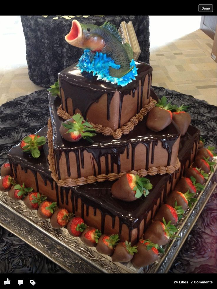 Groom's cake wedding,  anyone?  I would love it minus the fish sculp on top.