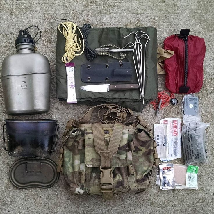 Full load out for a canteen pouch:  Ti mess kit,  poncho,  FAK pouch, whistle, tent stakes, Spectra line kit, signal mirror, knife, etc...