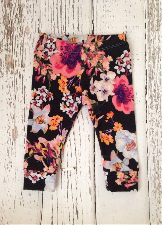 Black Floral Baby leggings baby leggings by littlenuggetrepublic