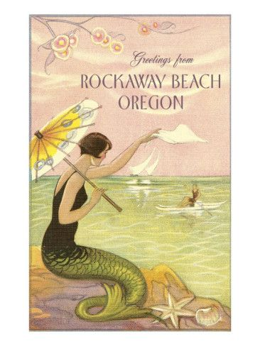Poster: Mermaid Waving from Rockaway Beach, Oregon