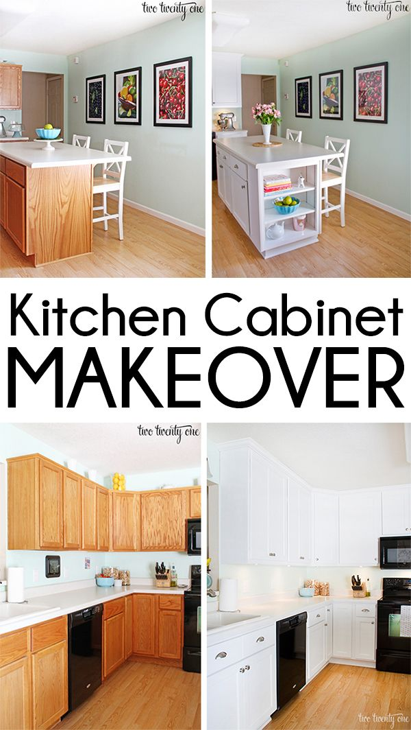 Kitchen Cabinet Makeover Reveal - Two Twenty One | refaced and painted cabinets, extended cabinets to ceiling and added shelving to island, added under-cabinet lighting, new drawer pulls/hardware
