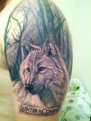 Game of thrones tattoo!! intense fan. Totes crey but the artist did a fantastic job. This must have hurt like a mutha...