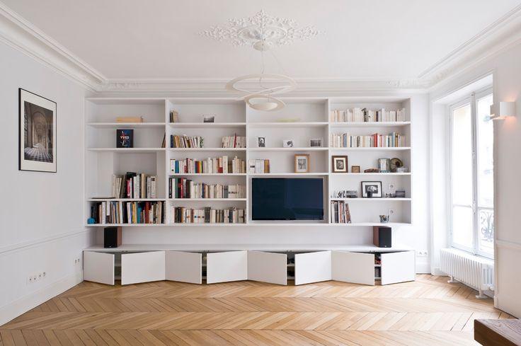 Bibliothèque Et Meuble Tv Contemporain Salon with Appartement by Atelier Ferret Architectures at France - Salon : Design d'intérieur et idées de décoration #ArjNXBD5gO
