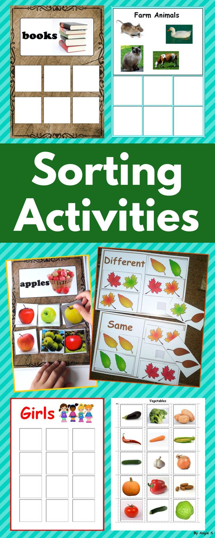 Sorting Activities Bundle for Special Education and Speech Therapy Set 1. This Bundle includes a lot of engaging activities for your students. My son adores them all! They will be very helpful if you use them for Autism, Special Ed, Occupational Therapy, Speech Therapy, ABA Therapy, TEACCH Therapy! #sorting #autism #speechtherapy #angies #sped #activities #kindergarten #bundle