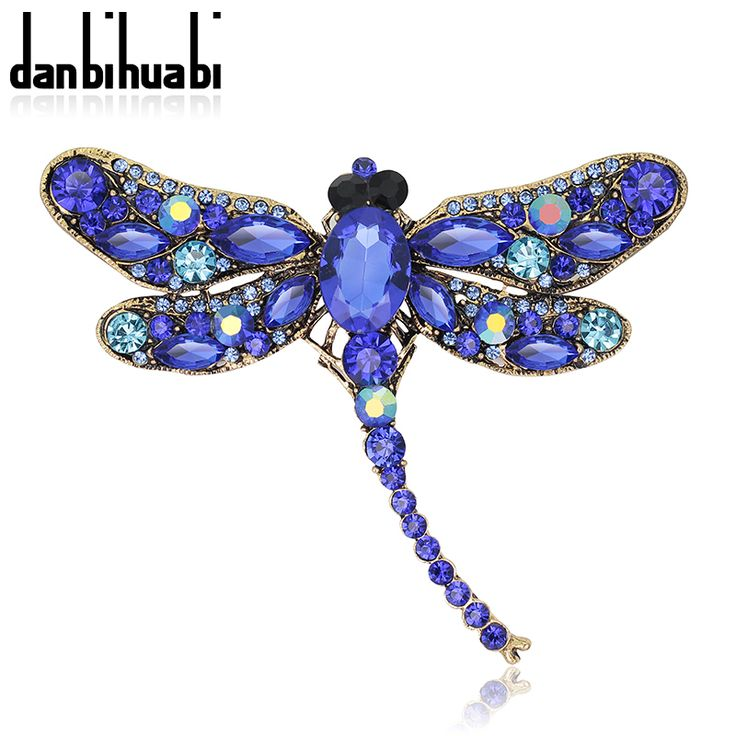 New Fashion Dragonfly crystal jewelry shining brooch bouquet Vintage beautiful Brooches For women christmas accessories