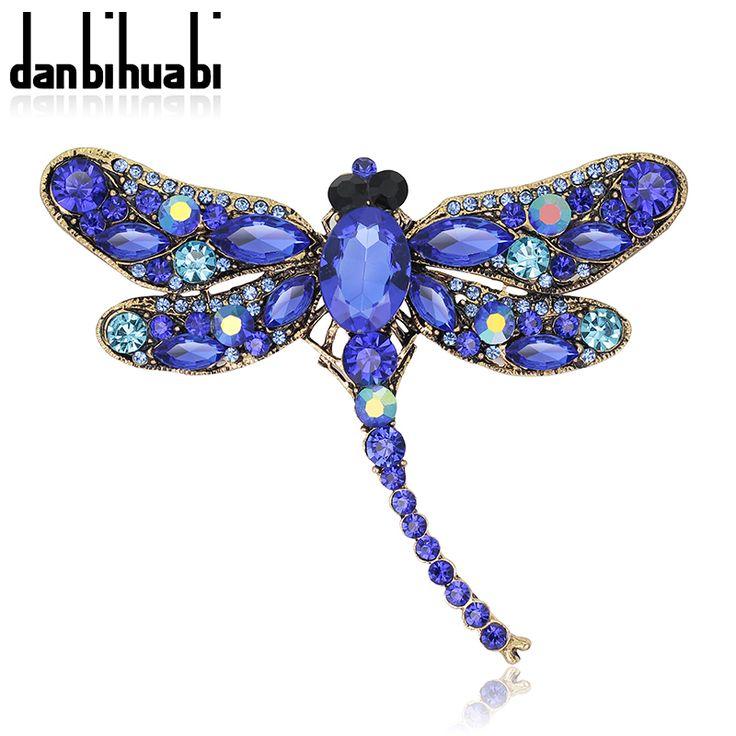 Nieuwe Mode Dragonfly crystal sieraden shining broche boeket Vintage mooie Broches Voor vrouwen kerst accessoires