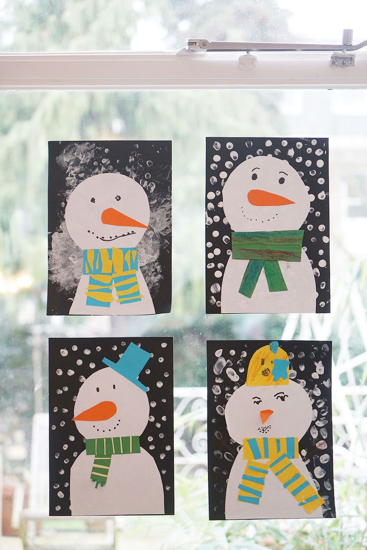 Sweet and easy snowmen on our window