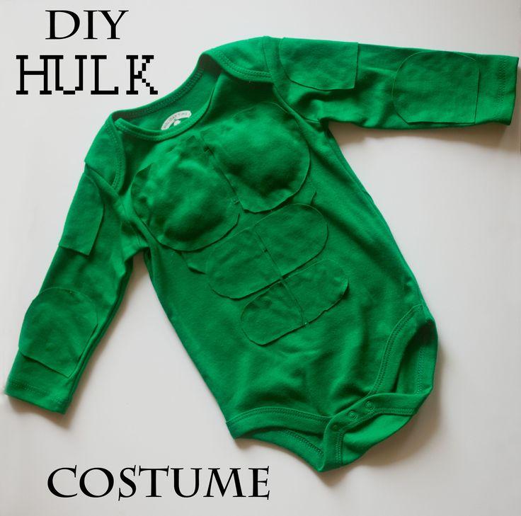 DIY Hulk Costume! Baby Hulk costume, avengers, baby Halloween costume ideas, Marvel comics, easy