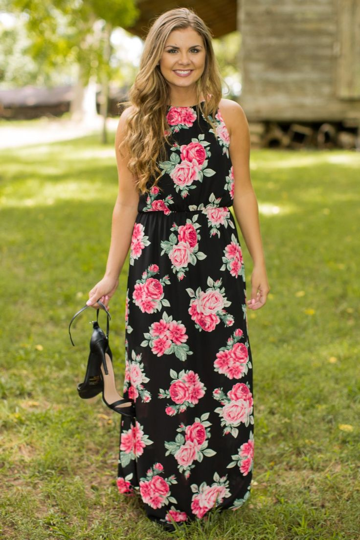 Everly Coming Into My Own Black Print Maxi Dress at reddressboutique.com