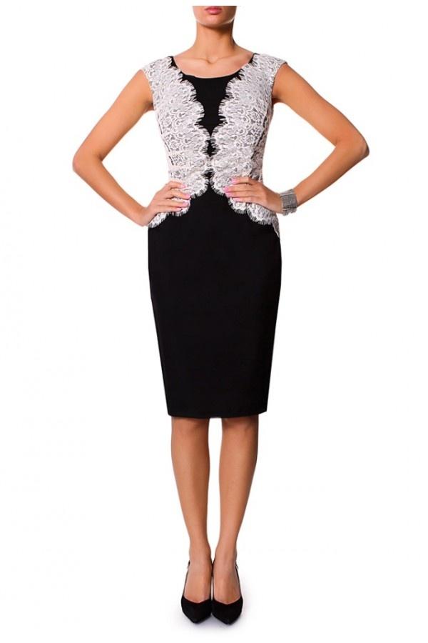 Piękna Czarno-Beżowa Koronkowa Sukienka