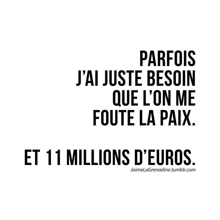 Parfois j'ai juste besoin que l'on me foute la paix. Et 11 millions d'euros - #JaimeLaGrenadine #citation #punchline #journeedemerde