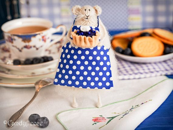 Knitted Rat/Mouse-Knitted Animal-Mothers Day Gift-Blue Decor-Blueberry Kitchen Decor-Rat in Blue Apron-Soft Toy-Mouse Doll-Candyfleece-UK