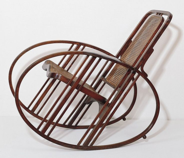 'Egg' Rocking Chair by Società Anonima Antonio Volpe; previously attributed to Josef Hoffmann. Adjustable back and leg rest, bentwood with caned seat, back and leg rest.