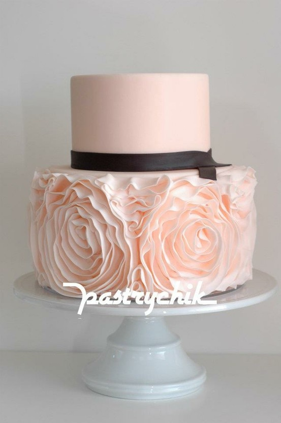 Blush pink double layer sweet & sophisticated. Top layer covered in smooth fondant & a chocolate brown ribbon separates the bottom butter cream frosting that looks like huge roses or peonies. Perfect for a small wedding or a classy bridal shower. One of the most re-pinned.