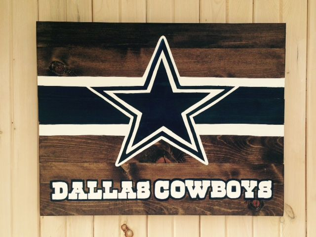 "$80 - Dallas Cowboys, Star and Stripe, hand-painted, wooden sign. The sign pictured is 24"" tall by 30"" wide. Dark Walnut stain on pine wood. Sign comes ready to hang with hanging wire. Made to order - customization available - allow 2-3 weeks turn around time. Back of sign is unfinished wood. Due to the nature of wooden products, the coloring, knots, and imperfections can vary slightly from photo."
