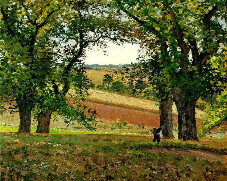 "Camille Pissarro, Les châtaigniers a Orsny (The chestnut trees at Orsny), c. 1873, oil on canvas, 65 x 81 cm, Private Collection|""Les châtaigniers à Osny by Camille Pissarro is somewhat crude in tone, but the lushly painted fields indicate that serious intentions lie beneath the persistently coarse surface."" Marc de Montifaud [Marie-Amelie Chartroule de Montifaud], L'Artiste, 1 May 1874"