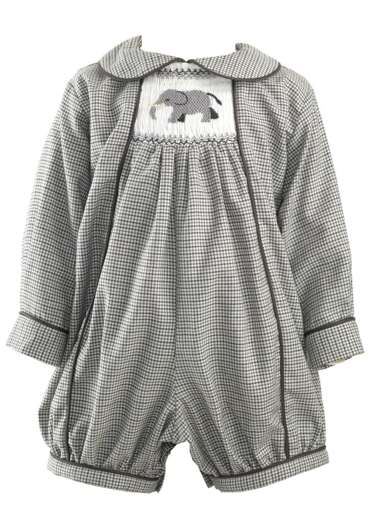 Elephant Smocked Babysuit Babysuits Clothing & Accessories Designer Baby Clothes & Shoes, British Designs For Boys & Girls at Rachel Riley USA