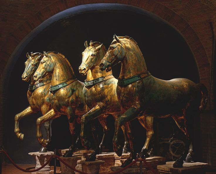"""""""Horses of Saint Mark."""" Bronze. Attributed to the Greek sculptor Lysippos, 4th century BCE. Venice, Basilica of St. Mark."""