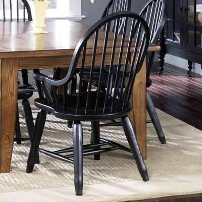 $253 windsor arm LibertyFurniture Treasures Formal Dining Bow Back Arm Chair in Black