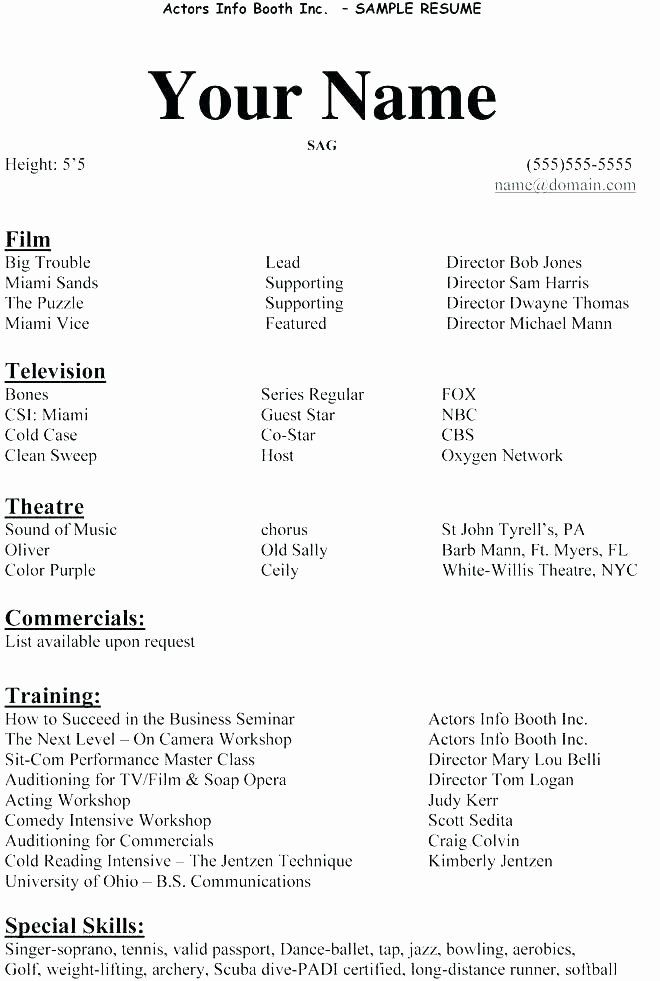 Tech Theatre Resume Template New Example Actor Resume Sample Resume For Beginners Impressive Actors Resume Acting Resume Template Acting Resume Resume Template
