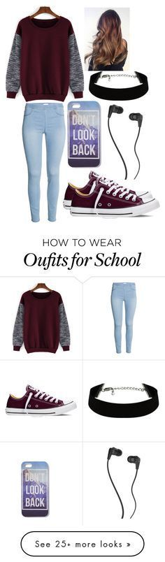 """""""In school"""" by musicmelody1 on Polyvore featuring Converse, Skullcandy, women's clothing, women, female, woman, misses and juniors"""