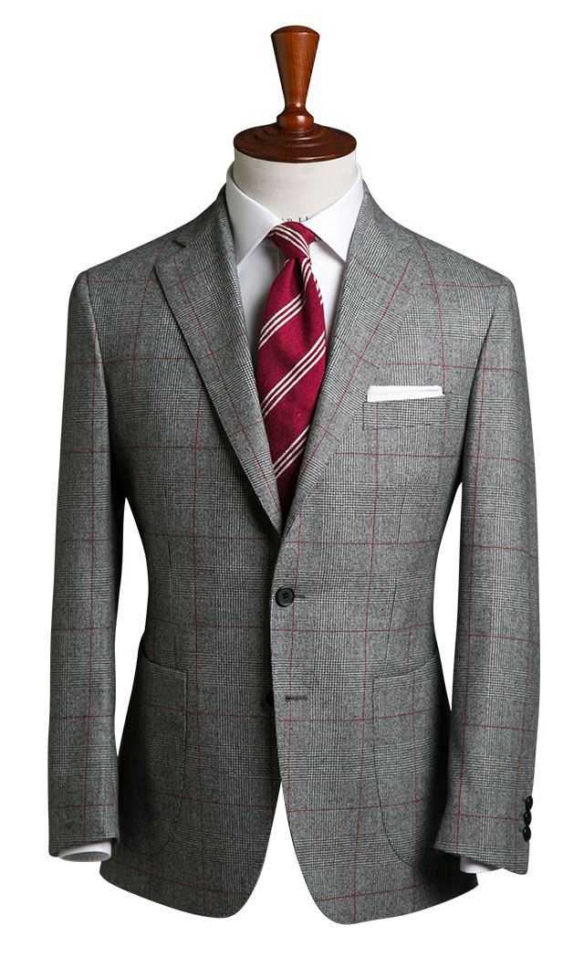 Mid Grey Flannel With Windowpane Check