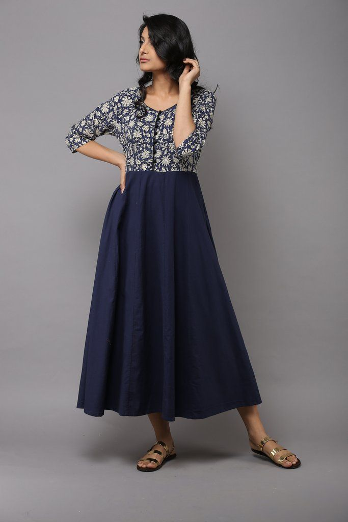 Indigo Block Printed Cotton Kalidaar Dress