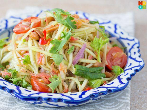 Easy, no-cook, 20-minute recipe for Thai green mango salad.