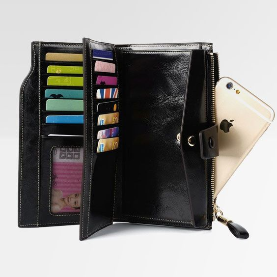 d1a90a0654b3 Discover ideas about Large Wallet. February 2019. Large Capacity Luxury Wax Genuine  Leather Wallet With Zipper Pocket 7