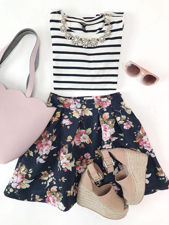 Benevolent Belle Fit and Flare Skirt, Deux Lux scalloped small tote, Marc Fisher LTD Adalyne Platform Wedge, Pink sunglasses