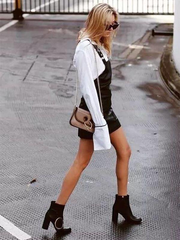 Street style look com preto e marrom.