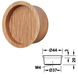 Holz Möbelknopf HE196.53 Eiche lackiert 44x20mm