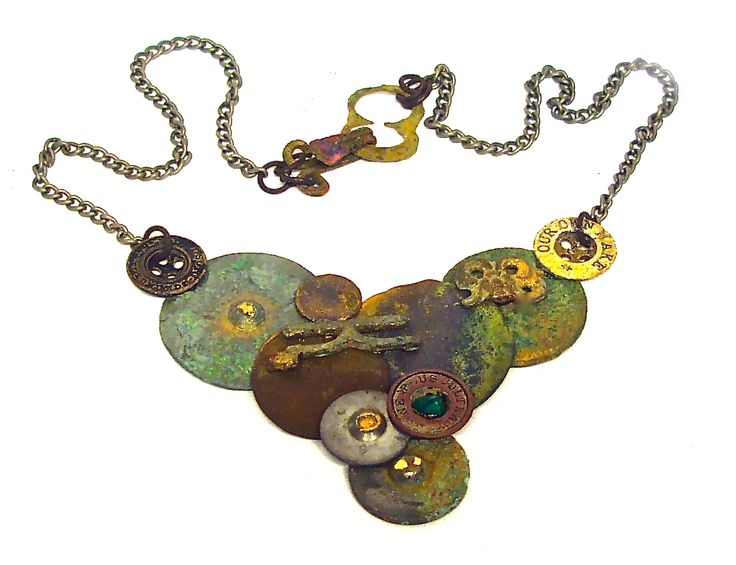 Upcycled Steel Button Necklace by Linda Jones