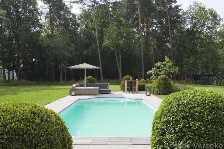 Buitenzwembad voorgevormd zwembad polyester zwembad in mooie tuin de mooiste zwembaden - Witte pool liner ...