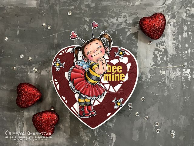 As if by magic by Olesya Kharkova: Bee mine | Valentine's Card