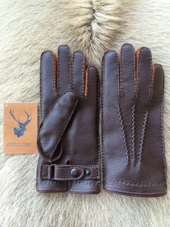 Winter Leather Gloves With Rabbit Fur Lining For Men S All Size Black Dark Brown Cognac Tan