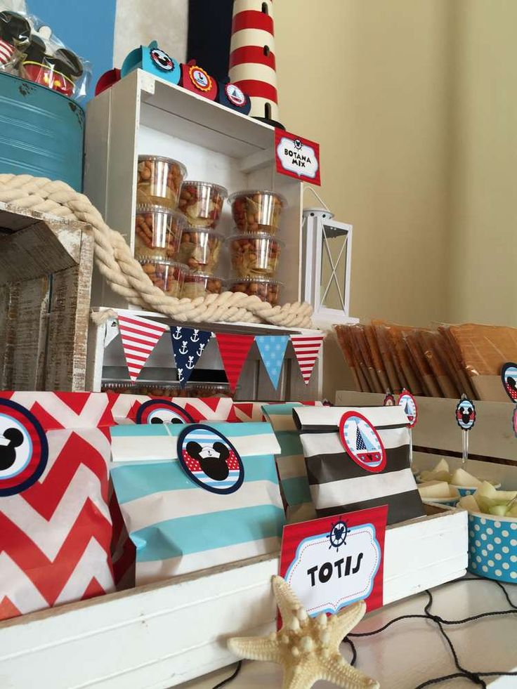 Nautical Mickey Mouse One Year | CatchMyParty.com