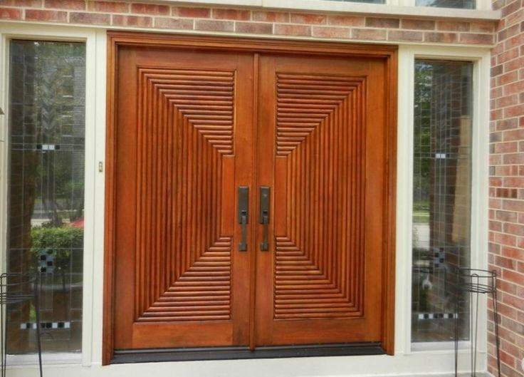 Wooden Door Design With Brick Wall Contemporary main door design for house entrance