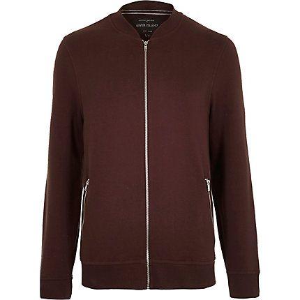 Red zip through bomber jacket