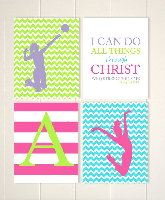 Dance wall art, girls room volleyball decor, volleyball girls wall art, teen girl gift idea, set of 4, choose your colors and sports by PicabooArtStudio