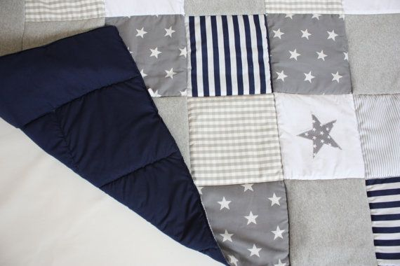 Boy Patchwork Quilt Baby Blanket Bed Cover Bedding Grey by myTITU,